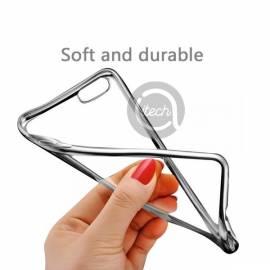 Coque Silicone Transparente et Argent S8+