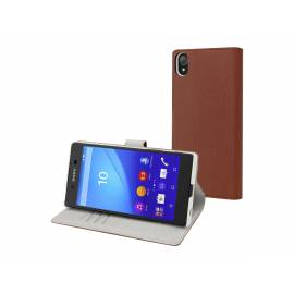 Coque folio marron Xperia Z5