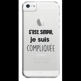 """Coque """"je suis compliquée"""" iPhone 5/5S/SE"""